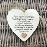 Shabby personalised Gift Chic Heart Plaque Special SISTER Present ANY NAMES Gift